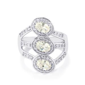 2.41ct Singida Tanzanian & White Zircon Sterling Silver Ring