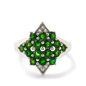 Chrome Diopside & White Topaz Sterling Silver Ring ATGW 2.00cts