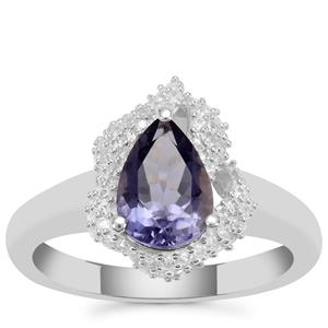 Bengal Iolite Ring with White Zircon in Sterling Silver 1.36cts