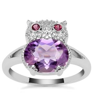 Moroccan Amethyst Owl Ring with Rajasthan Garnet in Sterling Silver 2.41cts