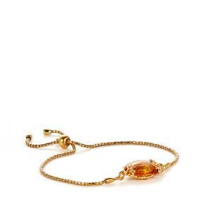 Baltic Cognac Amber Gold Plated Sterling Silver Slider Bracelet (15.50x15.50mm)