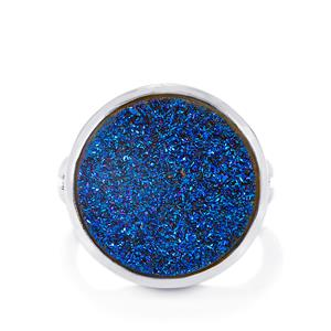 12ct Titanium Blue Drusy Sterling Silver Ring