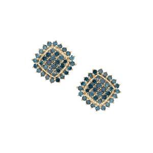 Blue Diamond Earrings in 9K Gold 1.05cts