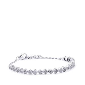 1.05ct Diamond Sterling Silver Bracelet