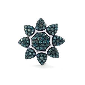 Blue Diamond Brooch in Sterling Silver 0.52ct