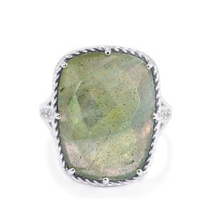 Labradorite & White Topaz Sterling Silver Ring ATGW 16cts