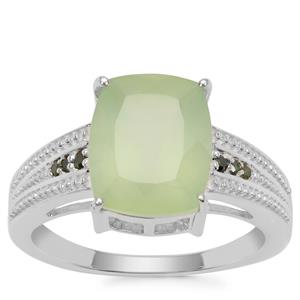 Prehnite Ring with Green Diamond in Sterling Silver 4.54cts