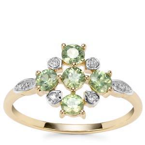 Ambanja Demantoid Garnet Ring with Diamond in 9K Gold 0.84ct