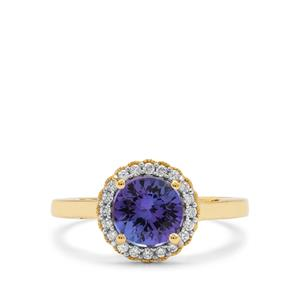 AAA Tanzanite Ring with Diamond in 18K Gold 1.50cts
