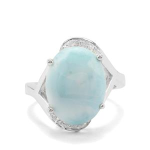 Larimar & White Zircon Sterling Silver Ring ATGW 8.21cts