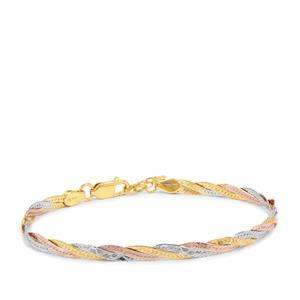 "7"" Three Tone Gold Plated Sterling Silver Altro Diamond Cut Braided Herringbone Bracelet 3.69g"