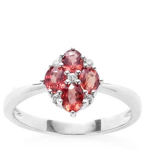 Winza Ruby Ring with White Zircon in 9K White Gold 1.08cts