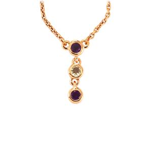 Amethyst Necklace with White Topaz in Rose Gold Vermeil 0.39cts
