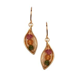 4.65ct Rainbow Tourmaline Gold Tone Sterling Silver Earrings (F)