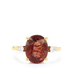 Bekily Color Change Garnet Ring with Diamond in 18k Gold 4.84cts