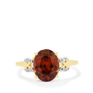 Zanzibar Zircon Ring with Diamond in 10k Gold 3.64cts