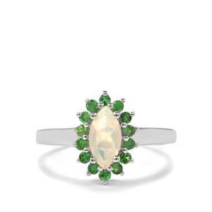 Ethiopian Opal & Tsavorite Garnet Sterling Silver Ring ATGW 0.68cts