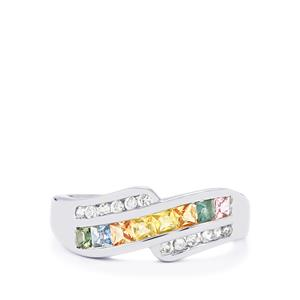 Rainbow Sapphire & White Zircon Sterling Silver Ring ATGW 0.97cts