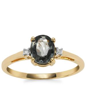 Burmese Multi-Colour Spinel Ring with Diamond in 9K Gold 1.39cts