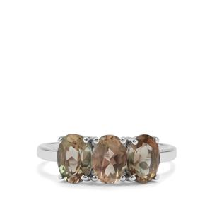 Peacock Parti Oregon Sunstone Ring in 9K White Gold 2.23cts