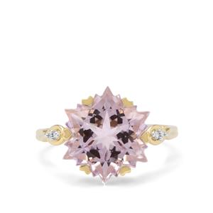 Wobito Snowflake Cut Rose De France Amethyst Earrings with Diamond in 9k Gold 7cts