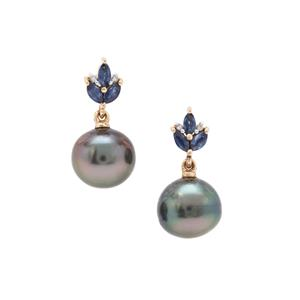 Tahitian Cultured Pearl, Blue Sapphire Earrings with Diamond in 9K Gold (9mm)