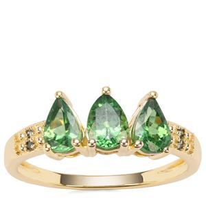 Tsavorite Garnet Ring with Green Diamond in 9k Gold 1.22cts