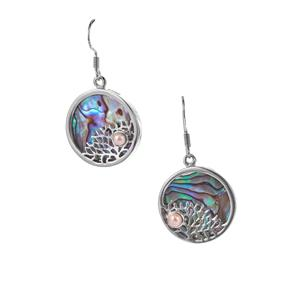 Paua and Kaori Cultured Pearl Coral Reef Earrings in Sterling Silver