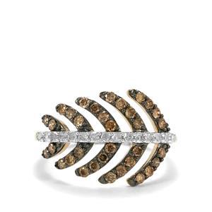 3/4ct Champagne & White Diamond 10K Gold Ring