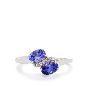 AA Tanzanite & Diamond 10K White Gold Ring ATGW 1.10cts