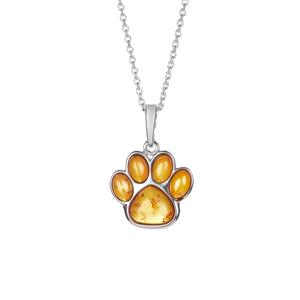 Baltic Cognac Amber Paw Necklace in Sterling Silver