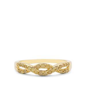 1/3ct Natural Yellow Diamond 9K Gold Ring