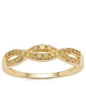 Yellow Diamond Ring in 9K Gold 0.35ct
