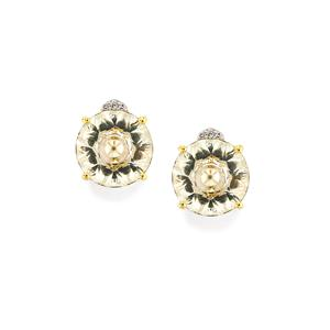 Lehrer KaleidosCut White Quartz, Ceylon Sapphire Earrings with Diamond in 10K Gold 5.84cts