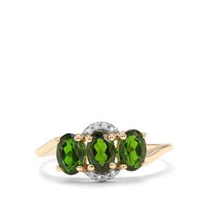Siberian Diopside & Diamond 9K Gold Ring ATGW 1.68cts