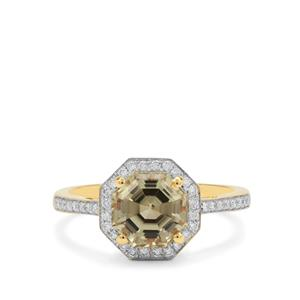 Asscher Cut Csarite® Ring with Diamond in 18K Gold 2.65cts