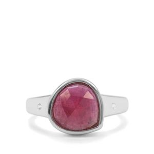Rose Cut Malagasy Ruby & White Zircon Sterling Silver Ring ATGW 2.50cts (F)