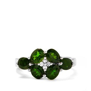 Chrome Diopside & White Topaz Sterling Silver Ring ATGW 2.68cts