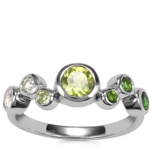 Chrome Diopside, Changbai Peridot Essencia Ring with White Zircon in Sterling Silver 1.07cts