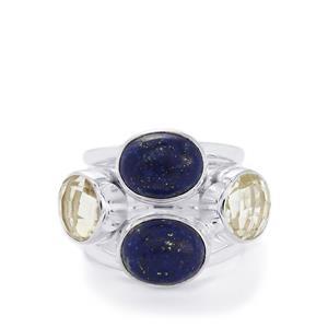 Sar-i-Sang Lapis Lazuli & White Quartz Sterling Silver Aryonna Ring ATGW 10.61cts