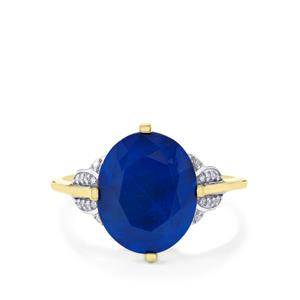 Santorinite™ Blue Spinel Ring with Diamond in 10k Gold 4.56cts