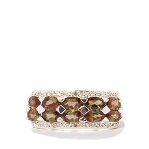 Gouveia Andalusite Ring with White Topaz in Sterling Silver 2.41cts