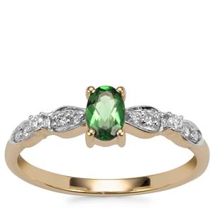 Chrome Tourmaline Ring with Diamond in 14K Gold 0.44cts