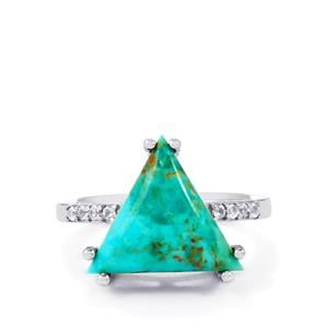 Cochise Turquoise & White Topaz Sterling Silver Ring ATGW 5.55cts
