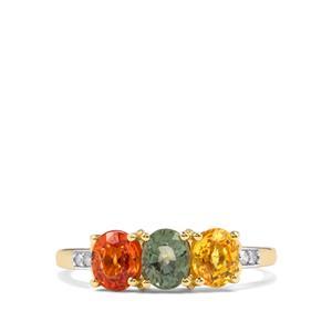 Rainbow Sapphire & Diamond 9K Gold Ring ATGW 1.89cts
