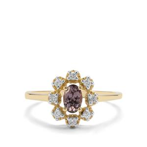 Mahenge Pink Spinel & White Zircon 9K Gold Ring ATGW 0.75ct