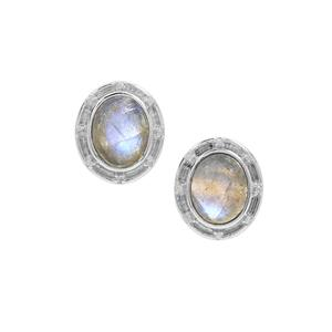 Labradorite Earrings with White Zircon in Sterling Silver 5.85cts