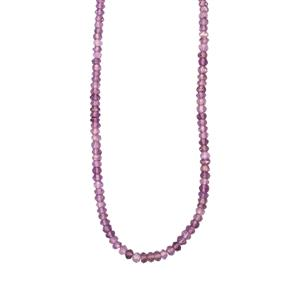 43ct Rose De France Amethyst Sterling Silver Graduated Bead Necklace