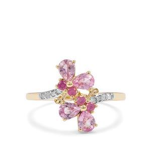 Sakaraha Pink Sapphire & Diamond 9K Gold Ring ATGW 1.35cts