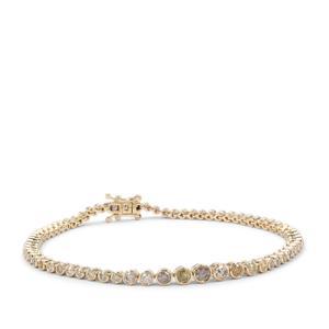 Multi-Colour Diamond Bracelet in 9K Gold 1.90cts